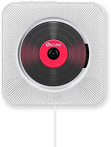 CD Player Bluetooth an der Wand montierbaren tragbaren CD-Musik-Player,FM-Radio Eingebauter HiFi-Lautsprecher, unterstützt USB/MP3/3,5 mm Kopfhörerbuchse mit Fernbedienung für Kinder-Pink (Weiß)
