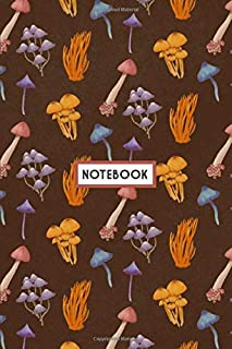 """Notebook: Autumn Wild Mystical Mushrooms Pattern, Wide Ruled 110 pages (6.14"""" x 9.21"""")"""