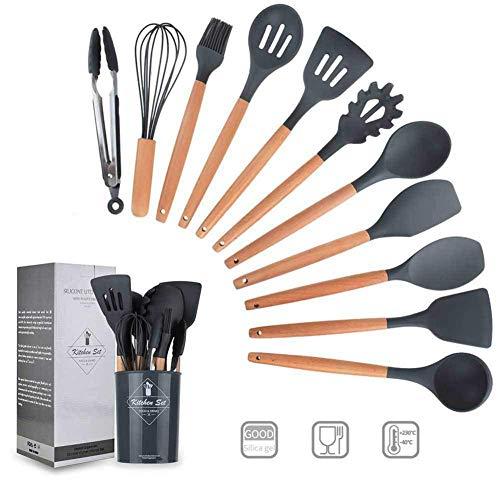 Conjunto de Cubiertos de Cocina de Silicona, 11 Piezas de Utensilios de cocción, BPA, sin Mango de Madera, Adecuado para cocinas de Cocina Antiadherente, Gris