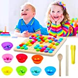 POPMISOLER Wooden Peg Board Beads Game, Rainbow Clip Beads Puzzle, Early Education Puzzle Board Game for Kid