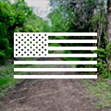 American US Flag [Pick Color/Size] Vinyl Decal Sticker for Laptop/Car/Truck/Window/Bumper (5in x 2.8in, White)