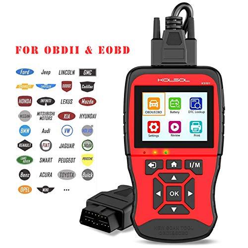 KOLSOL Code Reader Emissions Analyzers OBD II Scan Tool for Universal Vehicles EOBD Automotive Scanner Diagnostic Tool KS501 (KS04-Red)