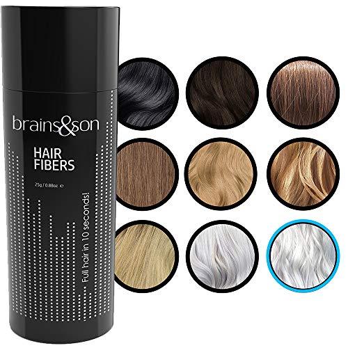 Brains & Son Streuhaar - Premium Haarverdichtung / Schütthaar mit Soforteffekt bei Geheimratsecken, Haarausfall und lichtem Haar - Haarpuder   25g (WEIß)