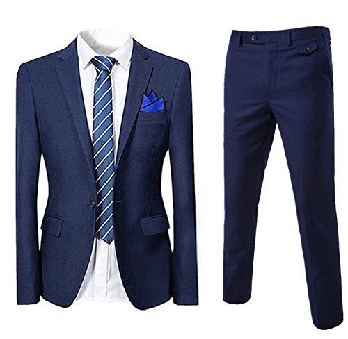 Allthemen Abito da Uomo in 2 Pezzi Blazer da Smoking e Pantaloni Giacca Monopetto con Un Bottone Suit Formale da Lavoro Business Blu Marina M