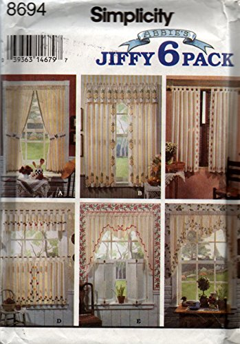 Simplicity Sewing Pattern 8694 Abbie's Jiffy 6 Pack Stenciled Curtains