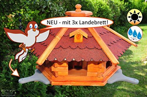 ÖLBAUM Futterhaus-Vogelhaus, groß, XL mit 3 x Landebahn (grau lasiert), Bitumendach rot robust, wetterfest
