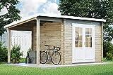 CARLSSON Gartenhaus Maria mit Schleppdach aus Massiv-Holz | Gerätehaus mit 28 mm Wandstärke | Garten Holzhaus inklusive Montagematerial | Geräteschuppen Größe: 450 x 250 cm | Pultdach