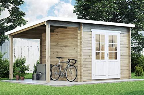 CARLSSON Alpholz Gartenhaus Maria mit Schleppdach aus Massiv-Holz | Gerätehaus mit 28 mm Wandstärke | Garten Holzhaus inklusive Montagematerial | Geräteschuppen Größe: 450 x 250 cm | Pultdach