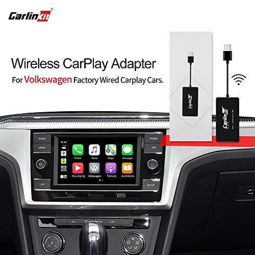 Carlinkit 2.0 Wireless CarPlay Adapter für Werksautos, für Volkswagen 2016-2020 Fahrzeuge mit Werks-Carplay, Wired-to-Wireless-CarPlay-Funktion