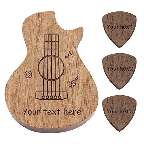 Boîte à médiators en forme de guitare en bois gravé avec 3 compartiments et 3 médiators