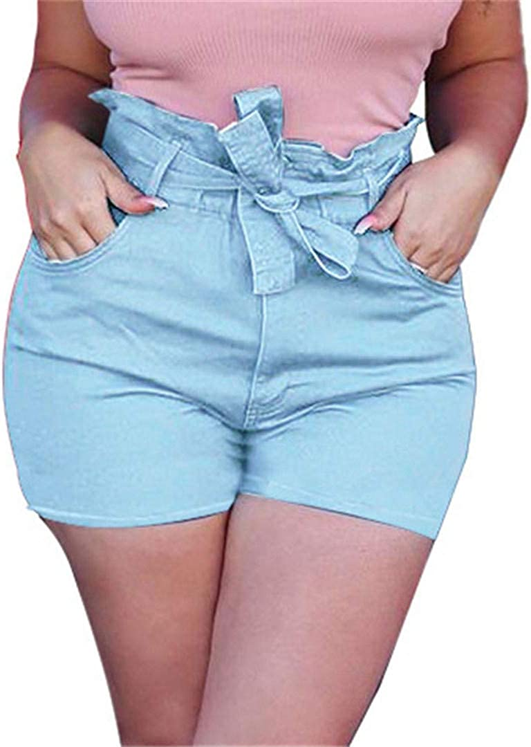 YHK Casual Blue Jean Shorts with Belts Pockets Women Summer Lace-Up Denim Shorts