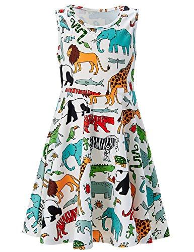 Girls Sleeveless Dress 3D Print Cute Animal World Lion Giraffe Elephant Pattern White Summer Dress Casual Swing Theme Birthday Party Sundress Toddler Kids Twirly Skirt, Animal World, 10-13T