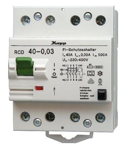 Kopp 754048013 Green Electric Fehlerstromschutzschalter RCD, 40A, 30mA, 4-polig