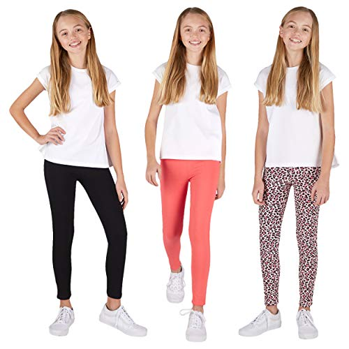 Lee 3 Pack Leggings for Girls | A Stylish Mix of Solid Color or Prints, Super Soft Pull on Leggings for All Day Comfort | Size 8