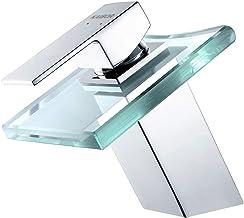 KAIBOR Moderne watervalkraan voor badkamer, wastafelarmatuur ontwerp van verchroomd messing en transparant glas, eenhandsm...