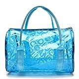 Hugestore - Borsa a secchiello da spiaggia in PVC trasparente impermeabile, portaoggetti o borsa nuoto. Borse shopper Blue