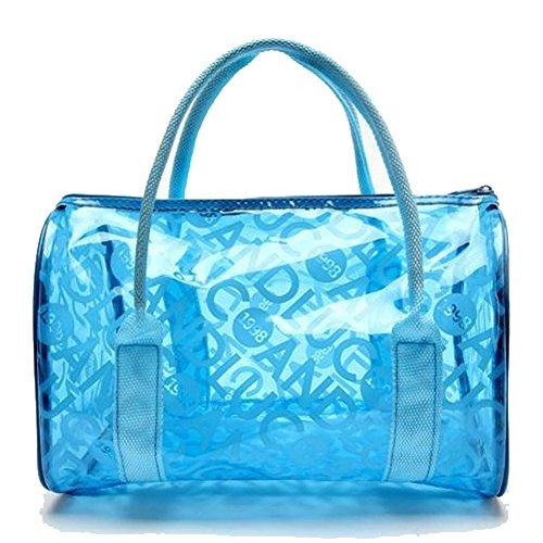 HugeStore Mädchen Sommer Klare Wasserdicht Sandstrand Handtasche Durchsichtig Taschen Strandtasche Blau
