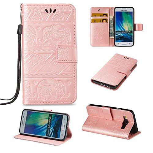 Guran® Funda de Cuero PU para Samsung Galaxy A3 2015 Smartphone Función de Soporte con Ranura para Tarjetas Flip Case Elefante en Relieve Patrón Cover - Oro Rosa