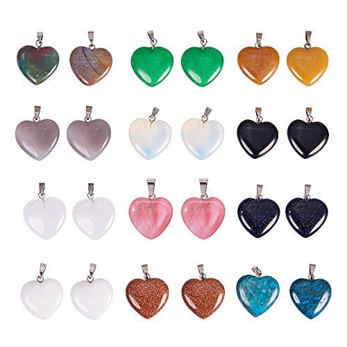 PandaHall Elite - Juego de 24 colgantes de piedras preciosas naturales con forma de corazón y latón en tono platino, 20 – 22 x 20 – 21 x 5 – 8 mm, agujero: 2 x 7 mm, 12 colores mezclados