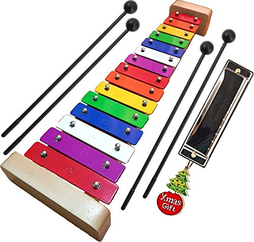 Xylophone for Kids: Glockenspiel Toy Best Holiday/Birthday Gift Idea  withFour ChildSafe Mallets Plastic 3 Music Card amp Harmonica Included  1 Year Guarantee