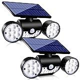 Outdoor Solar Lights, Ollivage 30 LED Solar Security Lights with Motion Sensor Dual Head Spotlights IP65 Waterproof 360° Adjustable LED Solar Motion Lights for Front Door Garage Patio Deck, 2 Pack