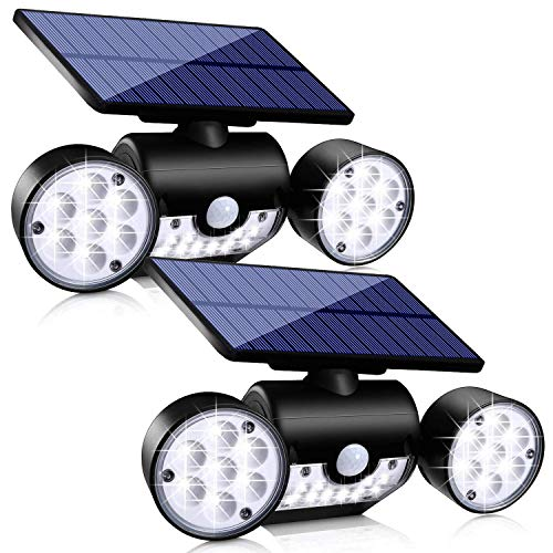 Outdoor Solar Lights, Ollivage 30 LED Solar Security Lights with Motion Sensor Dual Head Spotlights IP65 Waterproof 360
