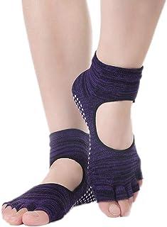 Kanggest.Calcetines Antideslizantes para Yoga Pilates Ballet Barre Mujer Hombre Ballet Calcentines de Pilates sin Dedos con Diseño de Empeine con Fugas Azul Oscuro