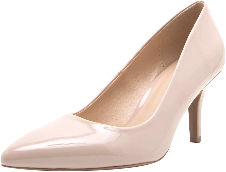 Cambridge Select Women's Closed Pointed Toe Slip-On Mid Height Stiletto Heel Pump