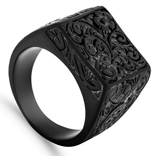 Akitsune Floris Ring | Design-Ring Frauen Herren Edelstahl Groß Floral Blumen Ornament Siegel - Mattschwarz - US 10