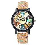 JSDDE - Reloj de pulsera analógico de cuarzo para mujer, pulsera de piel sintética, diseño de rayas con apariencia de corcho/madera, multicolor