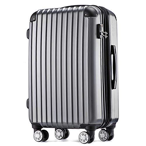 [トラベルハウス] Travelhouse スーツケース 容量拡張ファスナー式 SS機内持ち込み ストッパー付き TSAロック 超軽量 6色3サイズ【一年安心保証】 (SS, グレー)