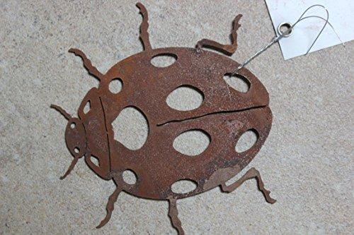 BADEKO Petite coccinelle en métal patiné plat 9 x 10 cm Décoration de jardin Coccinelle