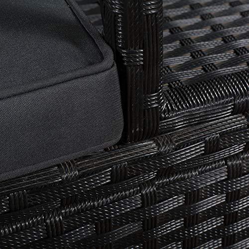 ArtLife Polyrattan Gartenbank Monaco schwarz – 2-Sitzer Bank mit integriertem Tisch & Kissen in Grau – 133 × 63 × 84 cm – Sitzbank wetterfest - 4