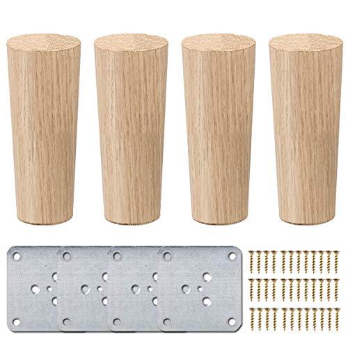 15cm Holz Tischbeine, La Vane 4 Stück Massivholz Konisch Ersatz Möbelfüße Möbelbeine mit Montageplatten & Schrauben für Sofa Bett Schrank Couch Stuhl