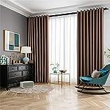 FACWAWF Simple Estilo Europeo marrón en Relieve Suave Ayuda para Dormir Cortinas Opacas Anti-Ultravioleta habitación de los niños Sala de Estar Dormitorio 2x52x84in(132x214cm) WxH