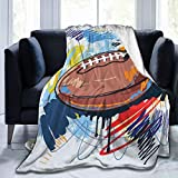 Couverture moelleuse en forme de losange - Motif ballon de rugby - Avec dessin coloré - Équipement professionnel - Ultra douce - Pour chambre à coucher, lit, TV - 127 x 101,6 cm
