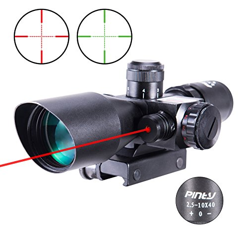 Pinty 2.5-10x40 Red Green Illuminated Mil-dot Tactical Rifle Scope with Red Laser Combo - Green Lens Color
