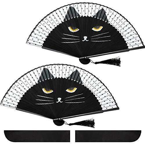 Abanico Plegable de Gato de Mano Abanico de Dibujo Gato Lindo de...