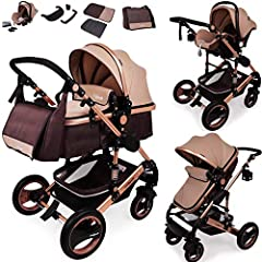 Daliya Bambimo 3 w 1 wózek - wózek combi gigantyczny zestaw 14-częściowy włącznie z wanną dla niemowląt & buggy & car baby carrier - aluminiowa rama/pełne gumowe opony - torba na zmianę/ochrona przed deszczem/stół dziecięcy z brązowego złota