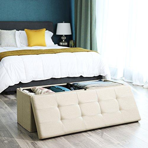 SONGMICS Sitzbank Sitztruhe max. statische Belastbarkeit 300 kg mit Stützrahmen aus Metall 120 L beige 110 x 38 x 38 cm LSF77BE - 5