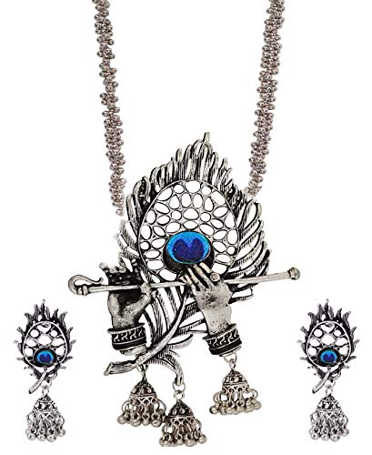 Total Fashion Oxidised Silver Designer Jewellery Krishna Flute Necklace Set for Women...
