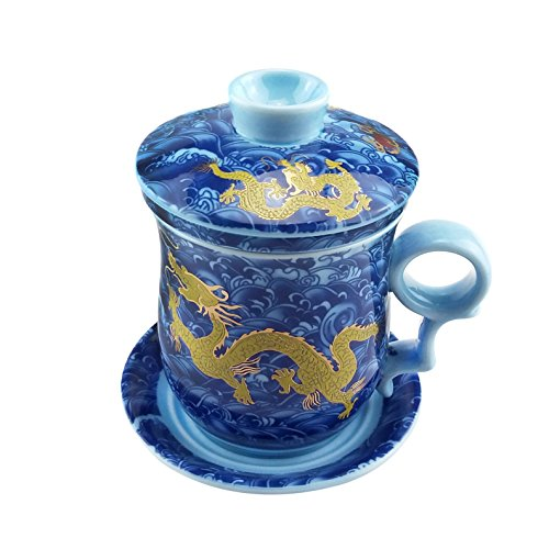 ufengke Jing Dezhen Tazza Da Tè Porcellana Blu E Bianca, Motivo Drago D'Oro, Tazza Da Tè Cinese Con Filtro,1 Set Di 4 Pezzi, Per Regalo, La Famiglia E Ufficio -Blu 300Ml