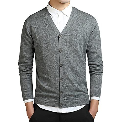 Los hombres de manga larga Cardigan algodón suéter para hombre suéteres sueltos botón sólido