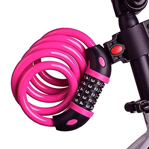 FGX Candado Para Bicicleta, Candado De Bicicleta Antirrobo De Combinación, Cadena De Alta Seguridad, Con 5 Dígitos Reajustables, Para Bicicleta, Bicicleta De Montaña, Patinete, 120cm 12mm (Rosa)
