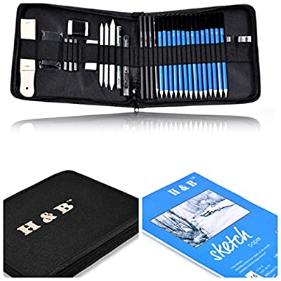 36 pieces Professional Art Set Drawing Sketching Pencil Set with Pencils,Graphite,Charcoal,Erasers,Sharpeners Art Supplies by ROYI Bonus with Free Sketchbook&Portable Kit Bag for Kids, Teens and Adult