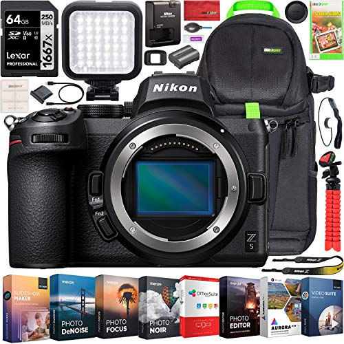 Nikon Z5 Mirrorless Camera Full Frame Body FX-Format 4K UHD Bundle with Deco Gear Photography Backpack + Photo Video LED Lighting + Lexar 64GB High Speed SD Card + Software Kit and Accessories