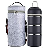 Bento Lunch Box with Insulated Bag,Stackable Stainless Steel Food Container,Stacking Tiffin Thermal Compartment Leakproof for Healthy On-the-Go Meal Adults Office Camping(3-Tier, Gray)