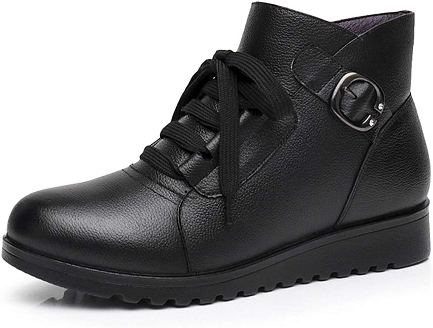 Hoxekle Ankle Boot Flat Platform Women Lace Up Soft Leather Buckle Concise Black Women Winter shoes