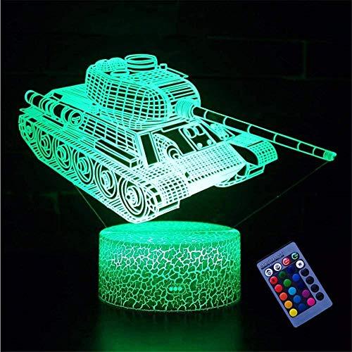Iluminación 3D para niños noche LightTank A con control remoto táctil 16 color cambiante lámparas de escritorio decoración de habitación de los niños mejor festival regalos de cumpleaños 3D