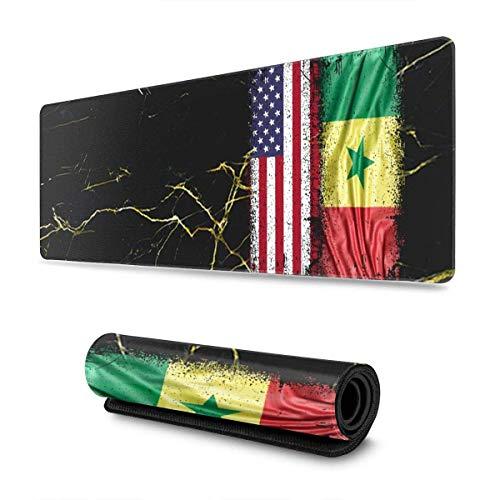 Tttyy Alfombrilla de ratón Extensible con Bandera de Senegal, Alfombrilla de ratón Antideslizante, Alfombrilla de ratón para Ordenador, Alfombrilla de ratón para Juegos, 11,8x31,5 Pulgadas